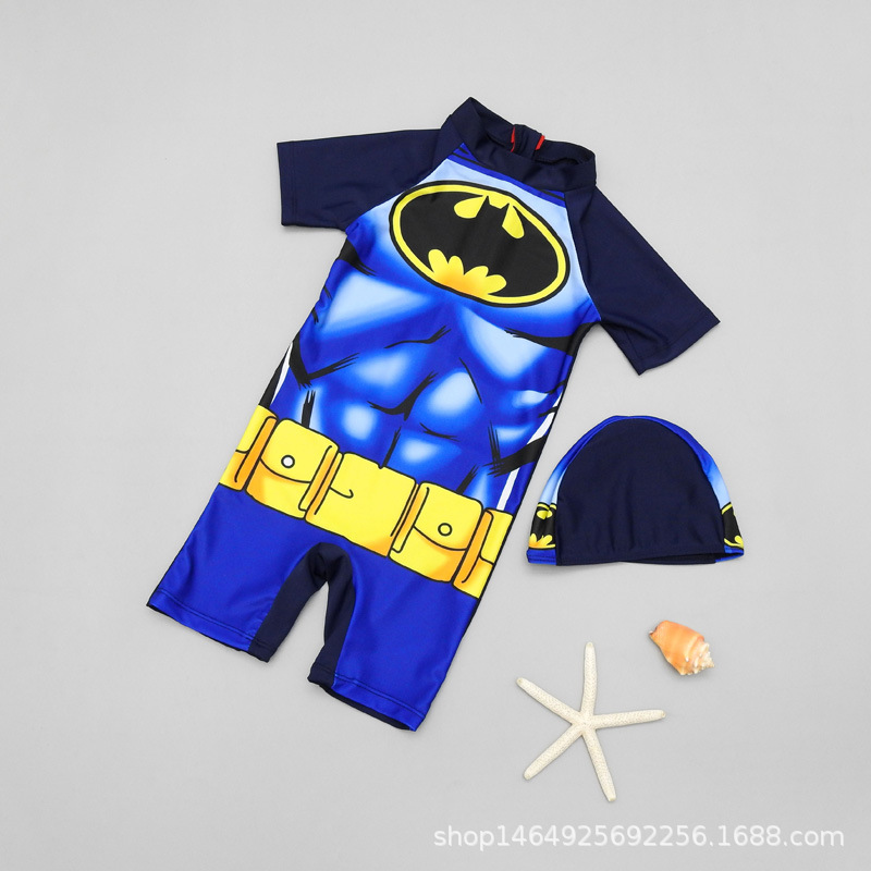 2019 New Style Boy CHILDREN'S Swimwear Baby Cartoon Batman One-piece Sun-resistant Quick-Dry Swimwear Children
