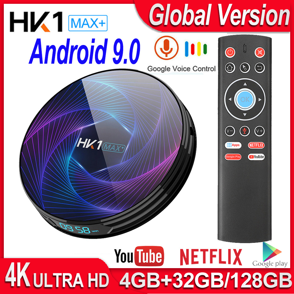 MAX 4GB 128GB Smart TV Box HK1 MAX Plus RK3368PRO Octa Core Android 9.0 TV Box 4K 60fps USB3.0 Google Play Netflix Youtube IPTV