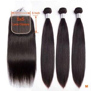 Image 1 - Luz solar brasileiro feixes de cabelo reto com fechamento 5x5 fechamento do laço com 3 pacotes 4 pçs remy feixes de cabelo humano com fechamento