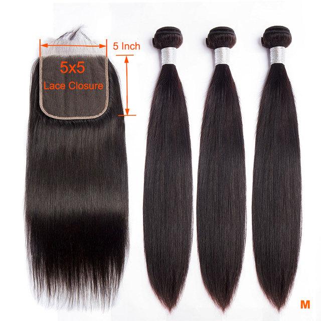 Luz solar brasileiro feixes de cabelo reto com fechamento 5x5 fechamento do laço com 3 pacotes 4 pçs remy feixes de cabelo humano com fechamento