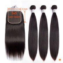 Zonlicht Braziliaanse Steil Haar Bundels Met Sluiting 5x5 Vetersluiting Met 3 Bundels 4 STUKS Remy Human Hair bundels Met Sluiting