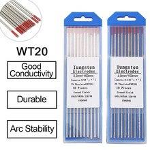 Aiguille/tige en tungstène pour Machine à souder TIG, couleur rouge WT20, 150MM, tête d'électrode en tungstène, 1.0/1.6/2.0/2.4/3.2 MM, 10 pièces