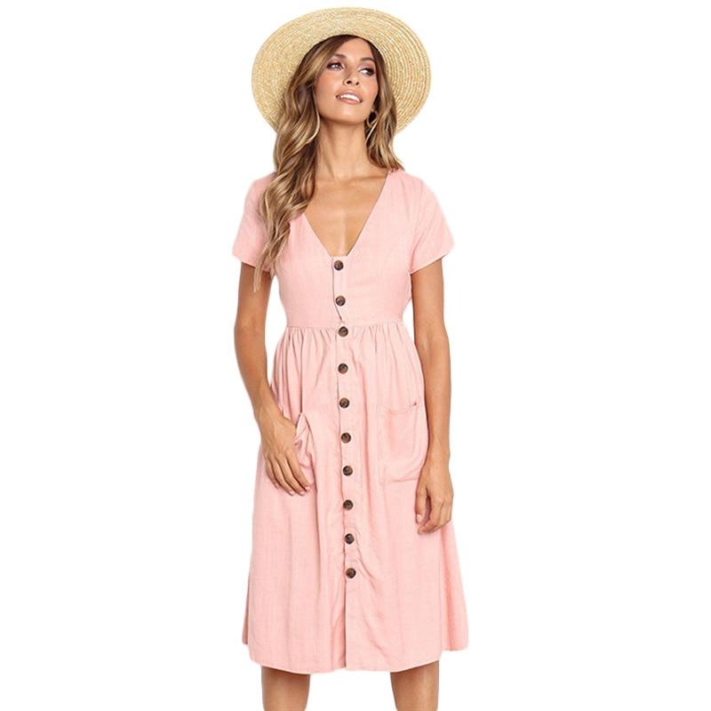 Cotton Linen Women Summer Dress 2020 Casual V-neck Button Pocket Short Sleeve A-line Midi Dresses For Women Vestidos