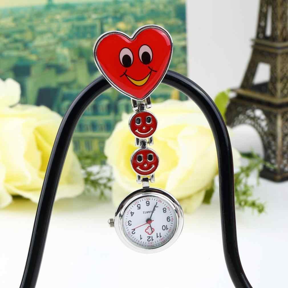 A Forma di cuore Carino Sorriso Viso Al Quarzo Infermiera Fob Della Vigilanza di Tasca Spille Spilla LN