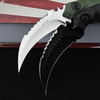 Karambit D2 Steel Fixed Blade Knife CS GO Outdoor Camping Survival Hunting Pocket Knives Tactical Military Self Defense Weapons 5