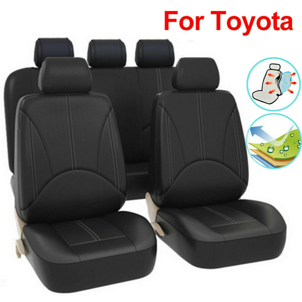 PU Leather Car Interior Seat Cover Black For Toyota RAV4 4runner For Yaris Venza