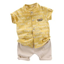 Summer Suit Shorts T-Shirt Tops Letters-Print Baby-Boys Casual Costume