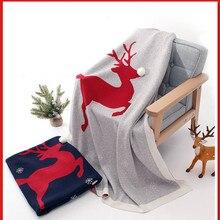 Детское вязаное одеяло для новорожденных; пеленка с рождественским оленем; мягкие постельные принадлежности для малышей; одеяло; кровать; диван; корзина; коляска