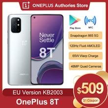 Versão da ue oneplus 8 t 8 t kb2003 5g smartphone 8gb 128gb 120hz fluid amoled display snapdragon 865 65w urdidura carga do telefone móvel