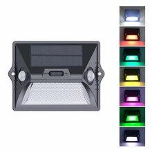 태양 빛 야외 듀얼 PIR 모션 센서 태양 전원 램프 180 학위 센서 벽 램프 RGBW 방수 정원 태양 빛
