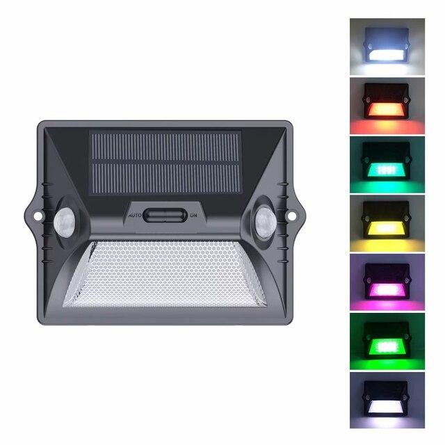 שמש אור חיצוני הכפול PIR חיישן תנועת שמש מופעל מנורת 180 תואר חיישן קיר מנורת RGBW LED עמיד למים גן שמש אור