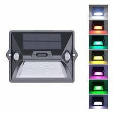 Solar Licht Outdoor Dual PIR Motion Sensor Solar Lampe 180 Grad Sensor Wand Lampe RGBW LED Wasserdicht Garten Solar licht