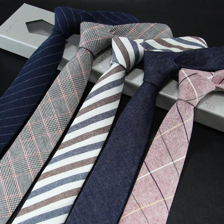 Gravata para homem versão estreita de algodão e linho gravata masculina 6cm formal de negócios casual trabalho profissional verificar presente do pai