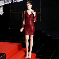 Sequins, fashion, short style, unique design, long sleeve party, Christmas, high end celebrity, wearing Fairy Dress