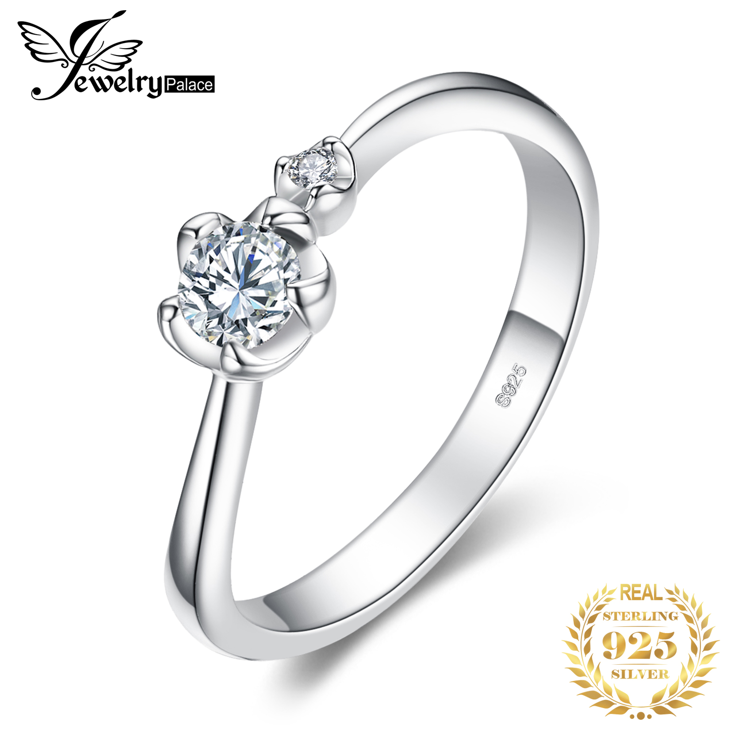 JewelryPalace Flower Cubic Zirconia Anniversary Promise Engagement Ring 925 Sterling Silver Beautiful For Women 2018 New Hot