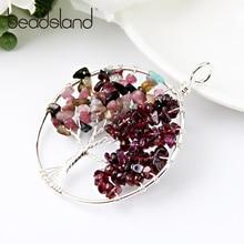 Beadsland Irregular Natural Stone Strung Tree Shape Pendant For DIY Necklace Woman Girl Gift 40417