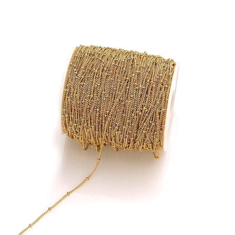 Tornozeleira joias, 2m, de aço inoxidável, tubo de ouro, miçangas de cabo, corrente de 2mm de largura, colares pulseira diy fazer suprimentos