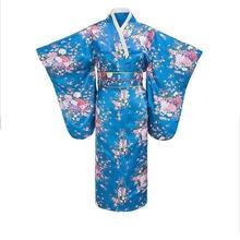 Элегантное Длинное японское кимоно женское атласное банный халат