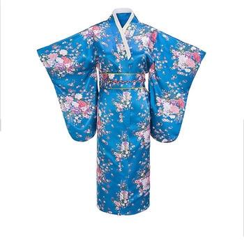 Floral Satin Furisode Kimono