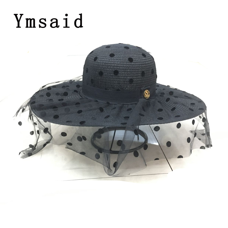 Summer Elegant Dot Mesh Straw Hat Women Wide Brim Sun Protection Beach Hat 2020 New Floppy Foldable Sun Hats For Women Ladies