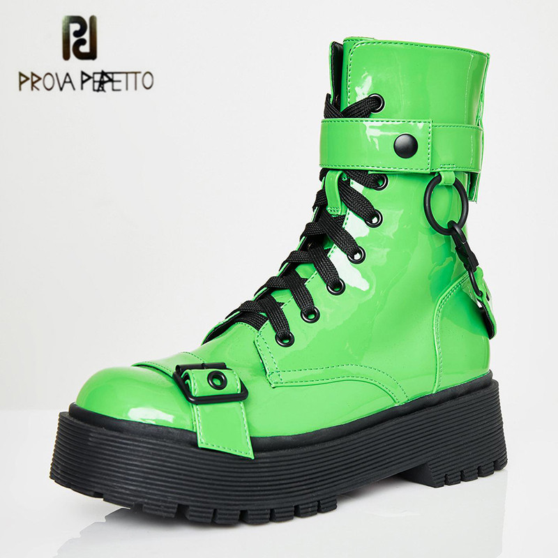 Prova Perfetto Fashion Street Punk Platform Boots Round Toe Patent Leather Boots For Women Lace Up Martin Boot Woman Botas Mujer