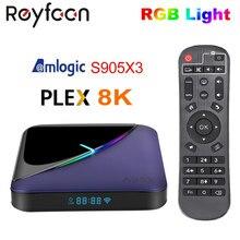 Amlogic s905x3 da caixa da tevê da luz do rgb a95x f3 android 9.0 4gb 64gb 32gb apoio duplo wifi 4k 75fps youtube media player a95xf3 tevê