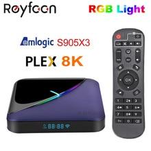 A95X F3 Đèn RGB TV Box Amlogic S905X3 Android 9.0 4GB 64GB 32GB Hỗ Trợ Dual Wifi 4K 75fps Youtube Plex Chơi Phương Tiện A95XF3