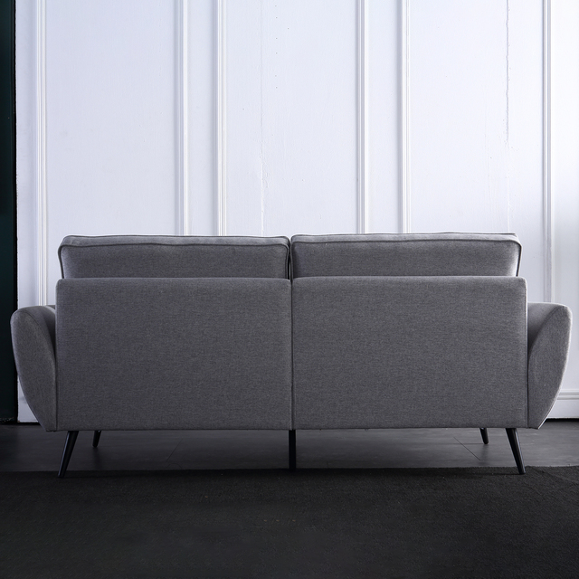 Linen Fabric Sofa Simple and Stylish Solid Wood Frame 3 Seat High Resilience Sponge Gray Indoor Furniture[US-Stock] 3
