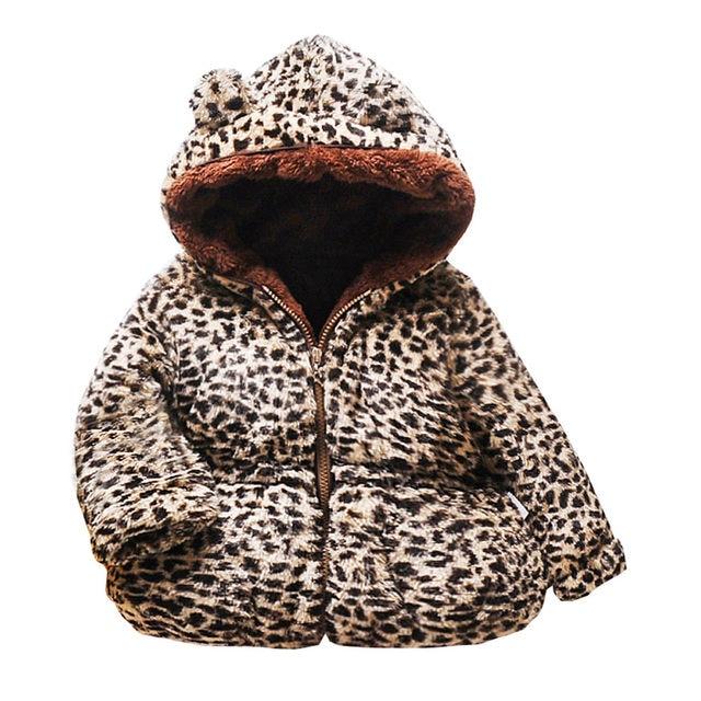 leoparden jacke kinder beige