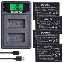 Durapro 1200 2600mah EN-EL20 EN EL20 カメラバッテリー + 液晶 USB デュアル充電器タイプ C ニコン 1 J1 j2 J3 S1 Coolpix A1 AW1 カメラ