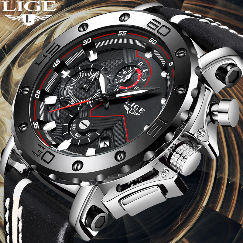 LIGE Creative Men Watch Top Brand Luxury Chronograph Quartz Watches Men Clock Male Leather Sport Army Military Wrist Watches+Box-in Quartz Watches from Watches