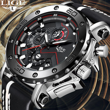 LIGE Creative Men Watch Top Brand Luxury Chronograph Quartz Watches Men Clock Male Leather Sport Army Military Wrist Watches+Box luxury leather gift box pacific angel shark sport watch 24hrs chronograph luminous steel water resistant men watches sh315 319