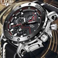 LIGE Criativo Homens Assistir Top Marca de Luxo Relógios Homens do Cronógrafo de Quartzo Relógio Masculino de Couro Do Esporte Militar Do Exército Relógios de Pulso + caixa|Relógios de quartzo| |  -