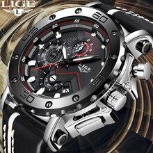 LIGE reloj creativo para hombre, cronógrafo de cuarzo, de cuero, deportivo, militar, caja
