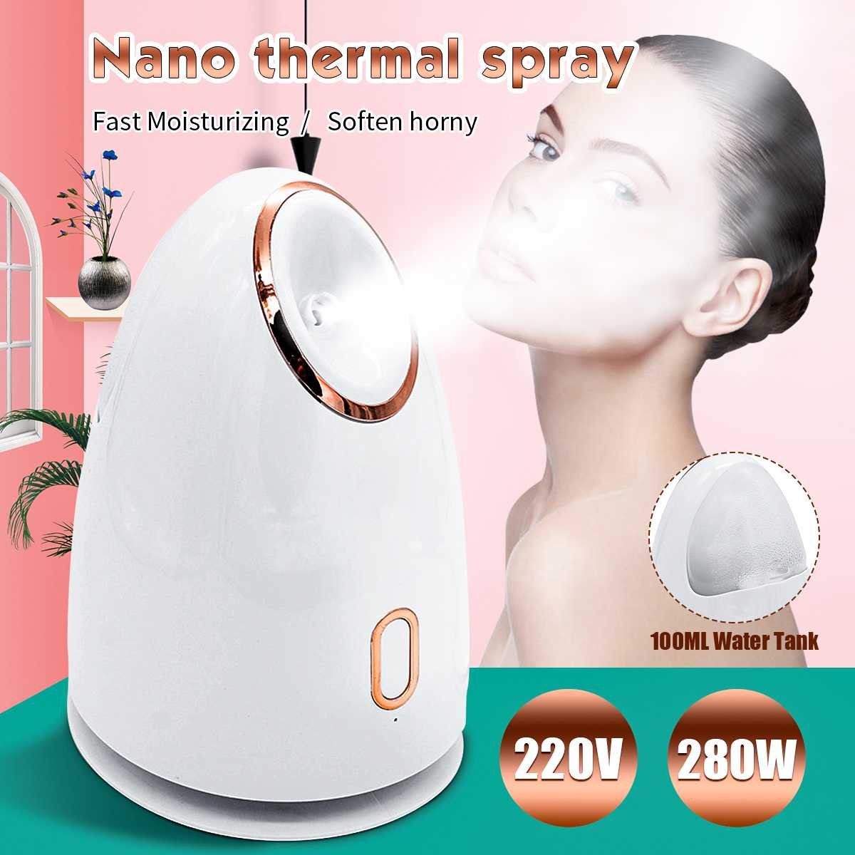 Deep Clean Facial Steamer Nano Ionic Face Steamer For Home Facial Steamer Sauna Spa Moisturizing Cleansing Pores Blackheads Acne