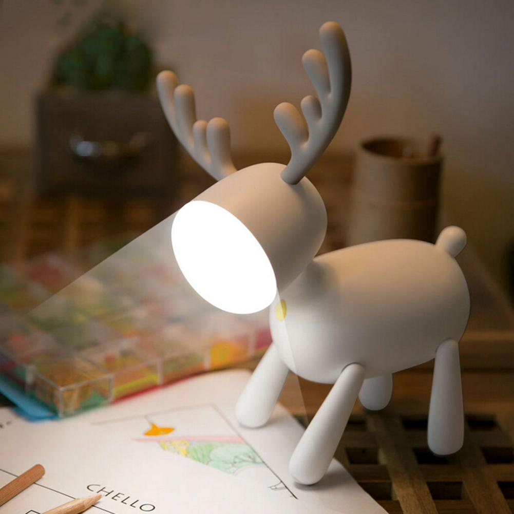 Elk Deer Rotary Night Light Tail Adjustable Timing USB Lamp Kids Bedroom Decor Desktop Decoration