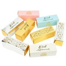 Boîte à bonbons en chocolat Eid Mubarak 10 pièces, coffret cadeau pour Ramadan Kareem, bricolage pour fête musulmane islamique Happy al-fitr Eid