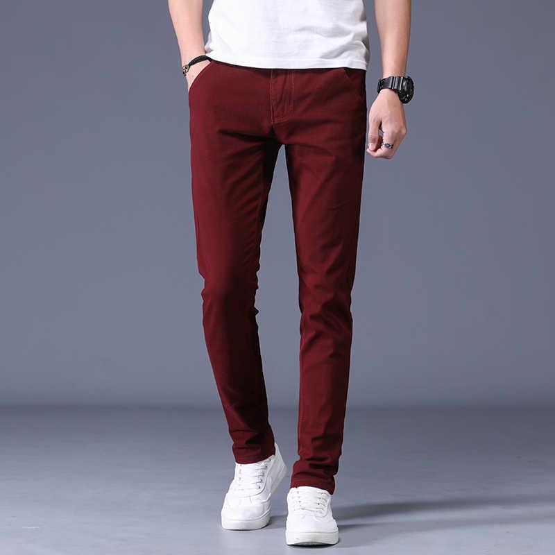 Pantalones Informales Ajustados Para Hombre Ropa De Moda De Boutique Color Liso Negro Vino Tinto Rojo Gris Azul Novedad De Otono De 2019 Pantalones Informales Aliexpress