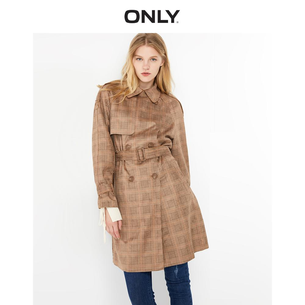 ONLY Women's  Straight Fit Double-breasted Checked Trench Coat | 119336559