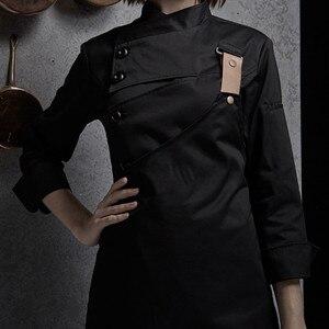 Image 3 - נקבה שחור לבן פולי כותנה ארוך שרוול חולצה & סינר מלון מסעדת שף אחיד קייטרינג מטבח צוות לבשל בגדי עבודה d33