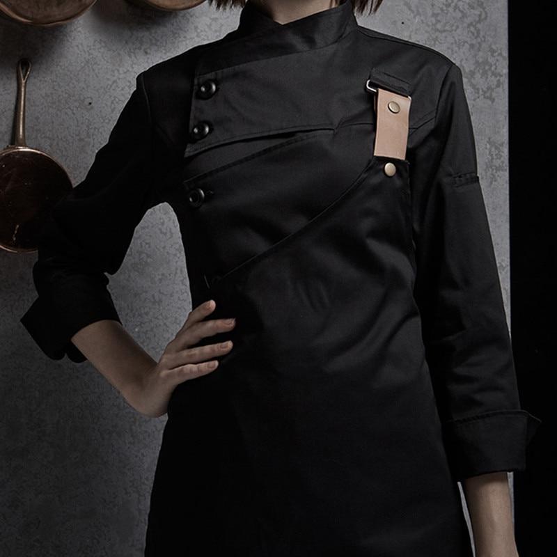 Weibliche Schwarz Weiß Poly Baumwolle Langarm Shirt & Schürze Hotel Restaurant Koch Uniform Catering Küche Mitarbeiter Kochen Arbeit Tragen d33 - 3
