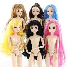 цены на Bjd Doll 1/6 Dolls Toys for Girls 30cm Dolls Accessories Nude 20 Joint/normal Body 4D Eyes Long Hair Baby Doll Toys for Children  в интернет-магазинах