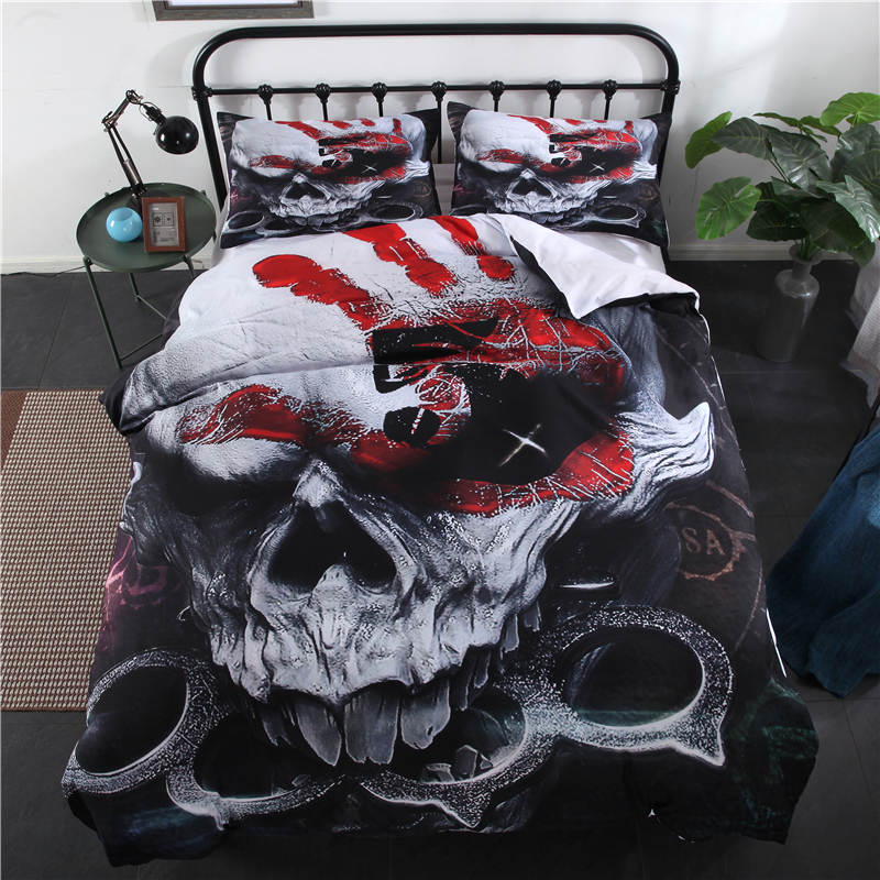 3Pcs 100% Polyester Skeleton Printed Bedding Sets Skull Bed Sheet Single Double King Size Duvet Cover
