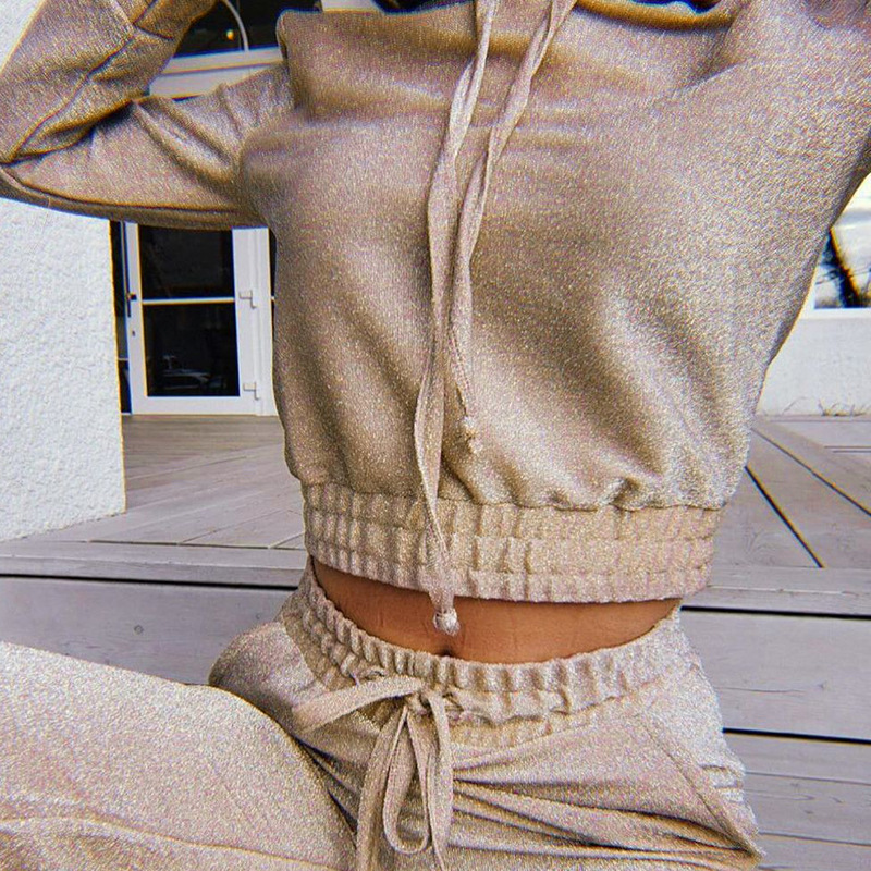 2019 Winter Shine Tracksuit Female 2 Two Piece Set Outfits Women Slim Knit Silver Line Hooded Sweatshirt + Sportwear Pants Suit