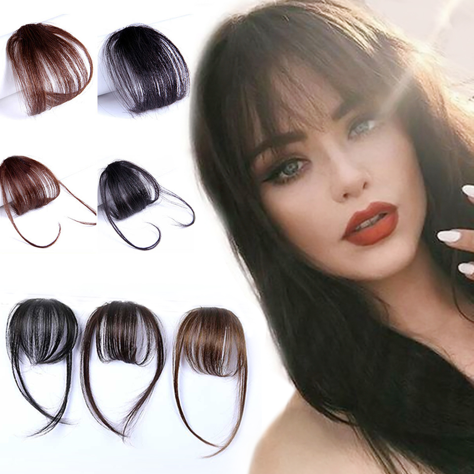Synthetic Short Bangs Brown Red Silver Black Clip In Hair Extensions Natural Air Bangs Hairpiece Fake Hair Bangs Wig For Women