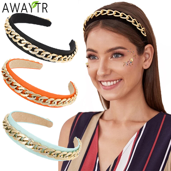 AWAYTR Gold Chains Hair Bands Women Hair Hoop Solid Bezel Hairbands Girls Fashion Elastic Headband Hair Accessories Ornament awaytr solid color satin rose flower headbands for women head bands bezel hairbands women girls hair accessories hair hoop