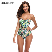 New Sexy Green Leaves Print Swimsuit Women One Piece Suit Bordered Bathing S-XL Girl Backless Padded Swimwear Monokini