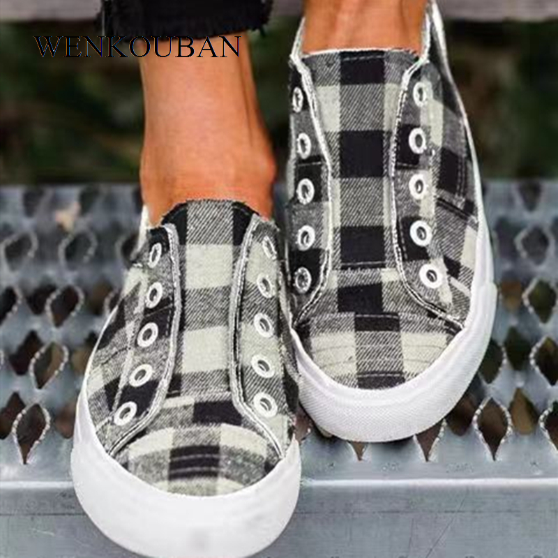 Plaid Canvas Shoes Women Vulcanized Shoes Casual Ladies Sneakers Fashion Slip On Flats Basket Femme Lazy Trainers Tenis Feminino