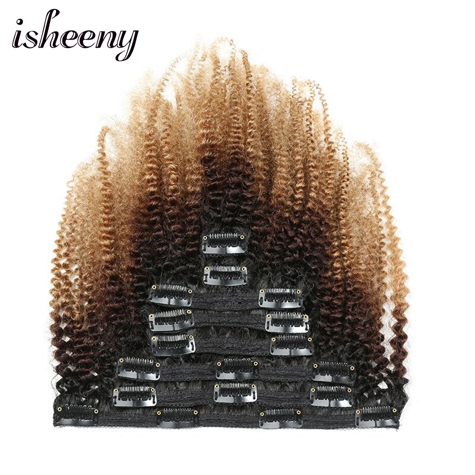 Isheeny Clip Full Head Frosted Afro Kinky Curly Clip In Hair Extensions 8pcs/set Ombre Brazilian Remy Human Clip Hair 120g
