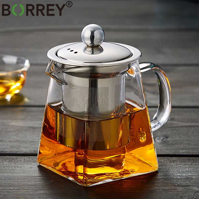 BORREY Heat Resistant Glass Teapot With Stainless Steel Tea Infuser Filter Flower Tea Kettle Kung Fu Tea Set  Puer Oolong Teapot